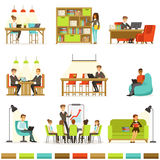 Coworking Workplace, Freelancers Sharing Space And Ideas In Office Where They Work Together Collection Of Illustrations Stock Photo