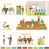 Coworking Workplace, Freelancers Sharing Space And Ideas In Office Where They Work Together Set Of Illustrations Royalty Free Stock Photos