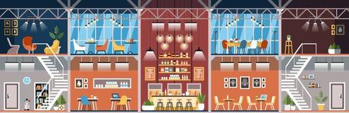Coworking Workspace Biurowy wnętrze wektor ilustracji