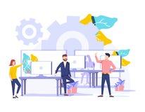 Coworkings vectorillustratie Gestileerde banner met mensen die bureau delen Zelf geleid, samenwerkings, flexibel royalty-vrije illustratie