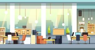 Coworkingsbinnenland Leeg open plekbureau, werkruimte vectorachtergrond royalty-vrije illustratie