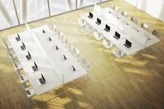 Coworkingsruimte met houten vloer Stock Afbeelding