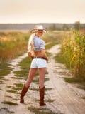 Cowpuncher della ragazza Fotografia Stock