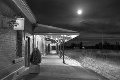 Cowra Railway Station under a full moon Royalty Free Stock Image