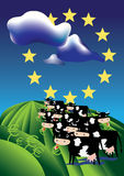cows европейское поле Стоковые Изображения