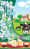 Cows. Morning in the village with a bouquet of wild flowers and milk breakfast Royalty Free Stock Photo