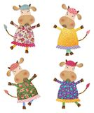 Cows. Cartoon characters. Decorative elements. Colorful graphic illustration for children Royalty Free Stock Photos