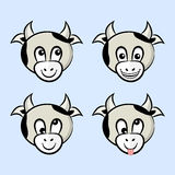 Cows with different emotions Royalty Free Stock Image