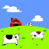 Cows in a Field. Colorful and vibrant illustration of three cartoon cows standing in a field with a barn and silo in the background Stock Images