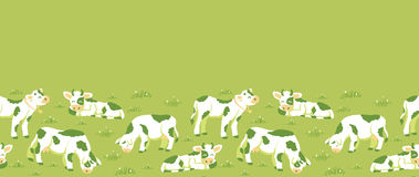 Cows on the field horizontal seamless pattern. Vector cows on the field horizontal seamless pattern ornament background with hand drawn elements Stock Photography