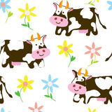 Cows and flowers - funny seamless pattern Royalty Free Stock Photography