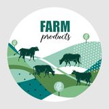 Cows graze in the meadow. Round background for design of agricultural products. royalty free illustration