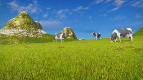 Cows graze on mountain pasture. Farm landscape with a few mottled dairy cows grazing on a verdant mountain pasture at sunny day. Low angle view. Realistic 3D stock illustration