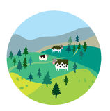 Cows and landscape illustration. Label design Royalty Free Stock Photography