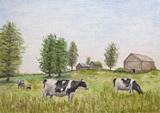 Cows in the meadow. Oil painting of black and white cows (Holstein Friesian) in a meadow with barn and farm house in the distance Royalty Free Stock Photo