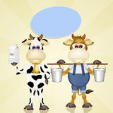 Cows with milk Royalty Free Stock Images