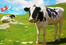Cows on mountain meadow Stock Photo