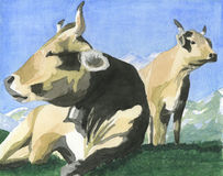 Free Cows On The Grass - Artwork Royalty Free Stock Images - 1342579