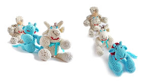 Cows-toys from a wool Stock Images