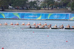 Coxed eight competition at Rio2016 Olympics. Picture taken Aug 11, 2016 Royalty Free Stock Image