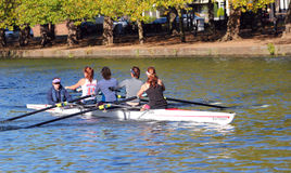 Coxed fours rowing at Bedford. Stock Photos
