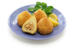Coxinha,brazilian chicken croquette. Coxinha de frango, croquette filled with shredded chicken Stock Photo