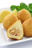 Coxinha,brazilian chicken croquette. Coxinha de frango, croquette filled with shredded chicken Stock Images