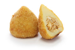 Coxinha,brazilian chicken croquette. Coxinha de frango, croquette filled with shredded chicken Stock Image