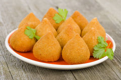 Coxinha de Galinha. Brazilian deep fried chicken snack, popular at local parties Royalty Free Stock Photography