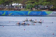 Coxless par konkurrens på OS:er Rio2016 Arkivfoto
