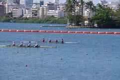 Coxless Wettbewerb vier an den Olympics Rio2016 Stockfotos