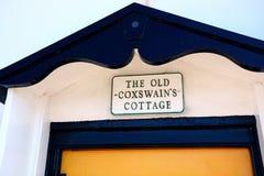 Coxswain Cottage sign, Weymouth. Royalty Free Stock Photo