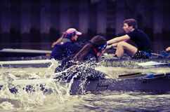 Coxswain. Photograph of two coxswains during crew practice royalty free stock photo