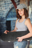 Coy Skatter Girl Immagini Stock Libere da Diritti