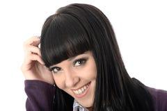 Coy Woman Laughing rilassato felice e sorridere Fotografia Stock Libera da Diritti