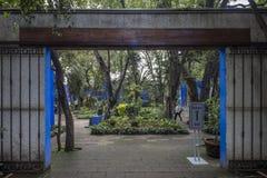 COYOACAN,墨西哥- 2016年10月28日:La住处Azul蓝色议院und庭院  免版税库存图片