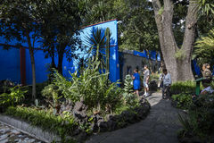 COYOACAN, MEXICO - OCT 28, 2016: Blue House with courtyard of La Casa Azul Stock Photos