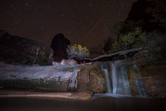 Coyote Gulch Waterfall at Night Grand Staircase Escalante Stock Photography