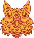 Coyote Hoofdzonnebril die Monolijn glimlachen Royalty-vrije Stock Afbeeldingen