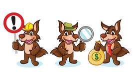 Coyote Mascot Vector with money Stock Photos