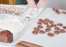 Coza cookies do Natal para a estação do Natal na padaria foto de stock royalty free