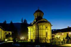 Cozia Monastery. View of Cozia Monastery, Olt county, Romania at blue hour Stock Photo