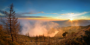 Cozia Mountains. Sunset from Cozia National Park, Romania Stock Photography