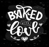 Cozido com rotulação da mão do amor Projeto tipográfico isolado no fundo do quadro Ilustração do vetor ilustração stock