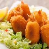 Cozido no camarão da pastelaria com vegetais Fotos de Stock Royalty Free