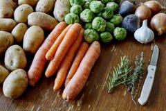Cozimento com batatas e brotos das cenouras imagem de stock