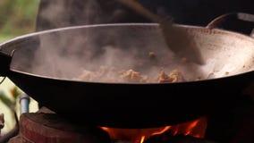 Cozimento com os fogões de madeira no campo vídeos de arquivo