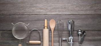 Cozimento cozinhando o fundo de madeira Foto de Stock