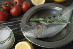 Cozimento cru e ingredientes dos peixes Dorado, limão, ervas e especiarias Imagem de Stock