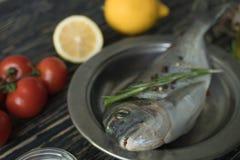 Cozimento cru e ingredientes dos peixes Dorado, limão, ervas e especiarias Foto de Stock